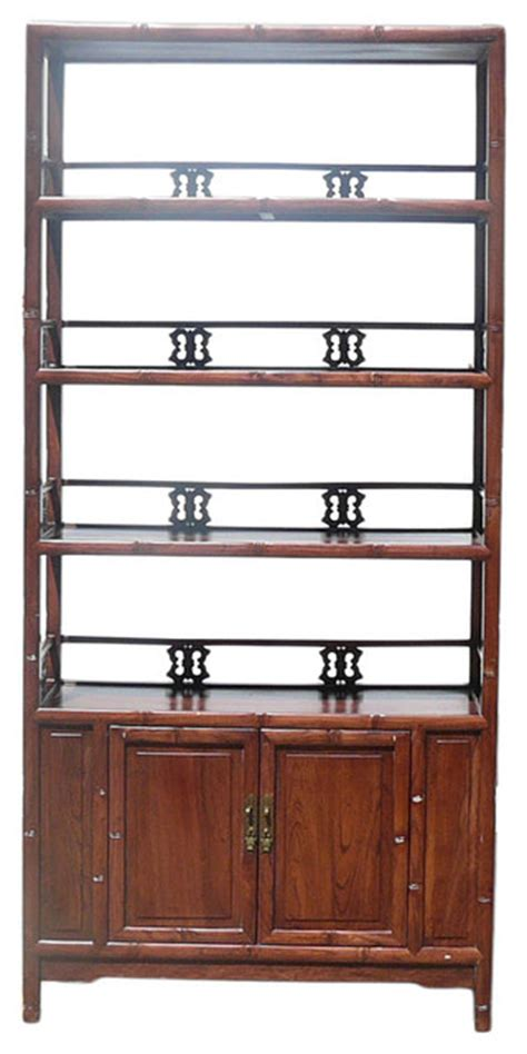 Asian Bookcase by Brown Bamboo Carving Wood Bookcase Cabinet Asian