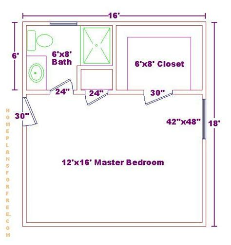 Master Bedroom Plans With Bath by Master Bedroom 12x16 Floor Plan With 6x8 Bath And Walk In