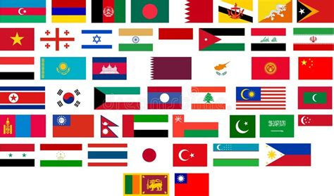 Flags Of All Asian Countries Stock Illustration