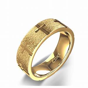 Engraved cross christian wedding ring in 14k yellow gold for Wedding ring christian