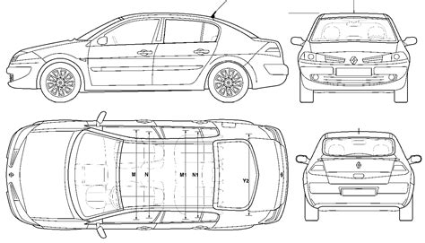 car blueprints renault megane ii blueprints vector drawings clipart and pdf templates
