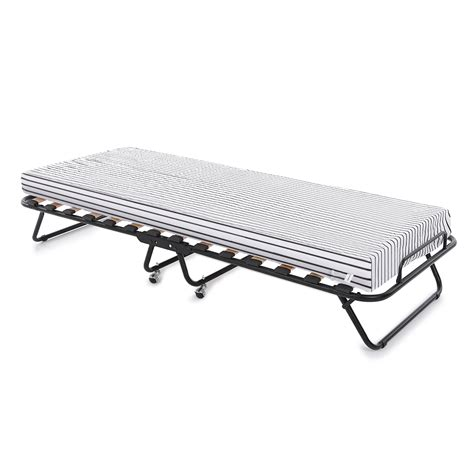 mattress bed frame black ikayaa metal wood rollaway single folding bed frame