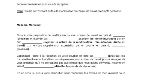 Modification Contrat De Travail Salarié Handicapé by Letter Of Application Mod 232 Le De Lettre Avenant Contrat
