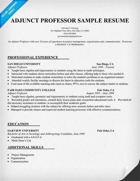 resume exle for adjunct professor resumecompanion