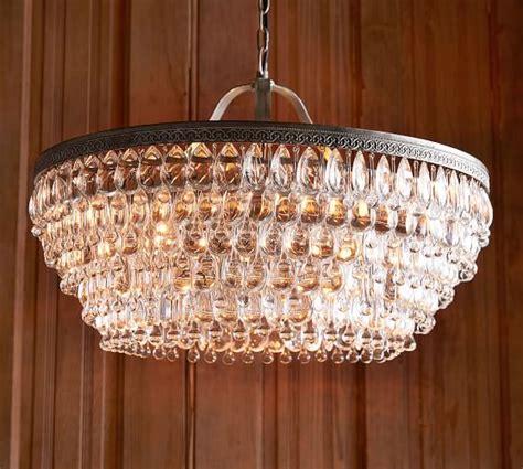 pottery barn glass l clarissa crystal drop round chandelier pottery barn