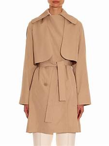 Carven Double Breasted Trench Coat In Natural Lyst