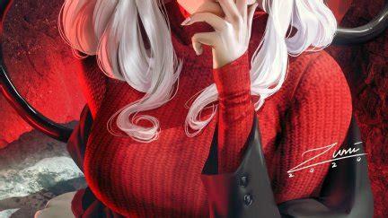 zumi zumidraws fantasy girl demon girls white hair