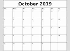 October 2019 Free Calendar Download