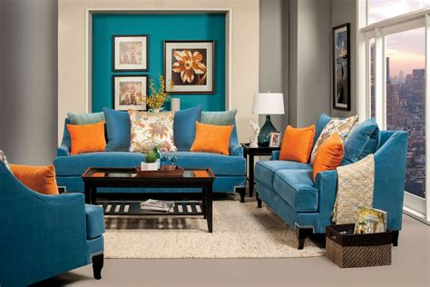 Vincenzo Peacock Blue Living Room Set From Furniture Of