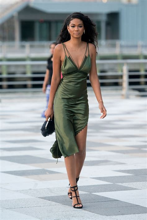 foto de Chanel Iman in an olive green silk slip: extreme fabulous
