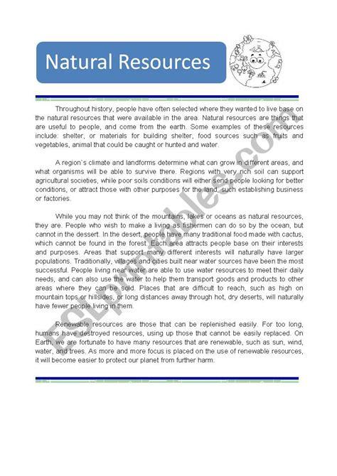 natural resources esl worksheet by kinco