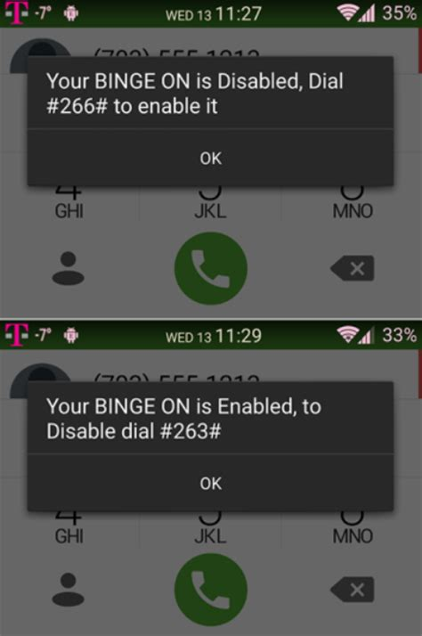 can i use an at t phone on tmobile t mobile s binge on can be enabled or disabled using your