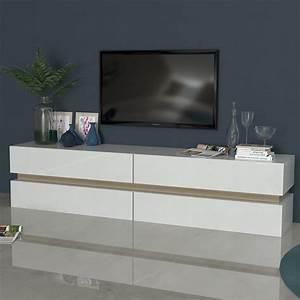 Meuble Tv Blanc Laqué Et Bois : meuble tv blanc laqu brillant et couleur bois sofamobili ~ Teatrodelosmanantiales.com Idées de Décoration