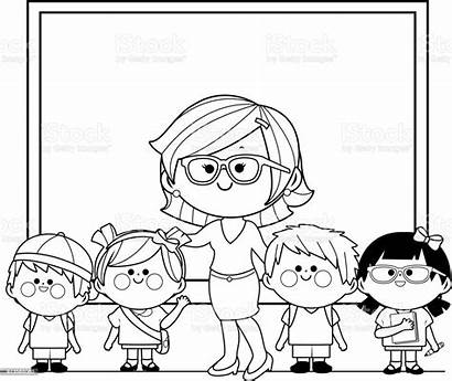Coloring Class Teacher Students Adult Illustration Vector
