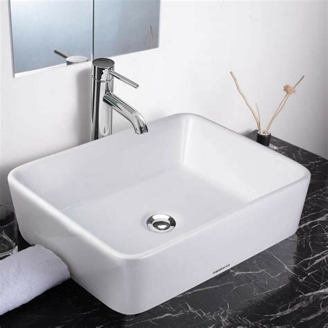 Rectangle Bathroom Sink by Aquaterior 19 Quot Rectangle Porcelain Ceramic Vessel Sink W