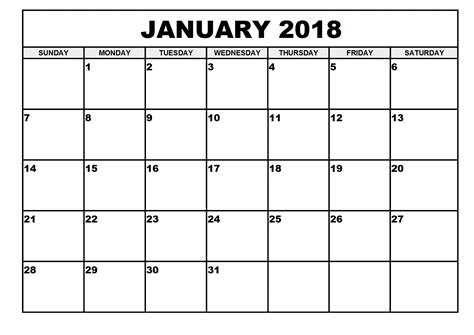 calendar template january 2018 january 2018 printable calendar printable calendar templates