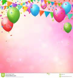 happy birthday background with balloons and flags stock