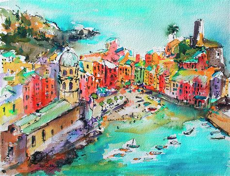 Dreaming Of Vernazza Cinque Terre Italy Painting By