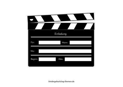kino einladung druckvorlage fuer popcorn karte und filmklappe