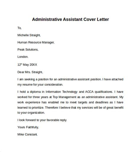 sle cover letter for an administrative assistant position sle cover letter for assistant position with no experience 28 images cover letter sle dental