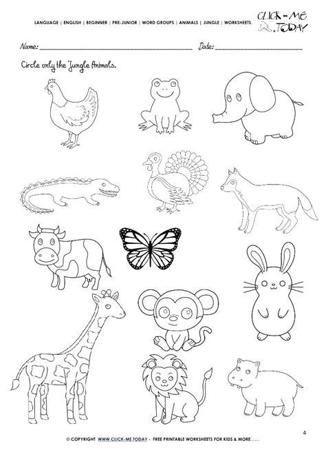 jungle animals worksheets for kindergarten kidz activities