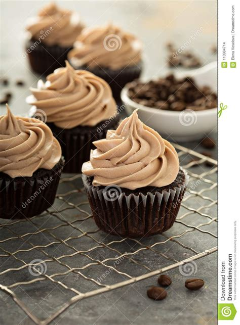 Chocolate cupcakes with a hint of coffee and creamy coffee frosting. Chocolate Espresso Cupcakes Stock Photo - Image of fresh, delicious: 110984714