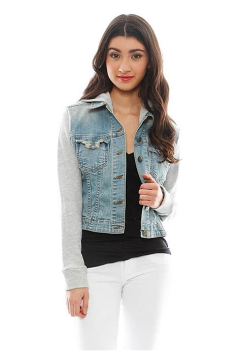 Jacket denim denim jacket hoodie hooded pretty cute fashion winter outfits winter ...