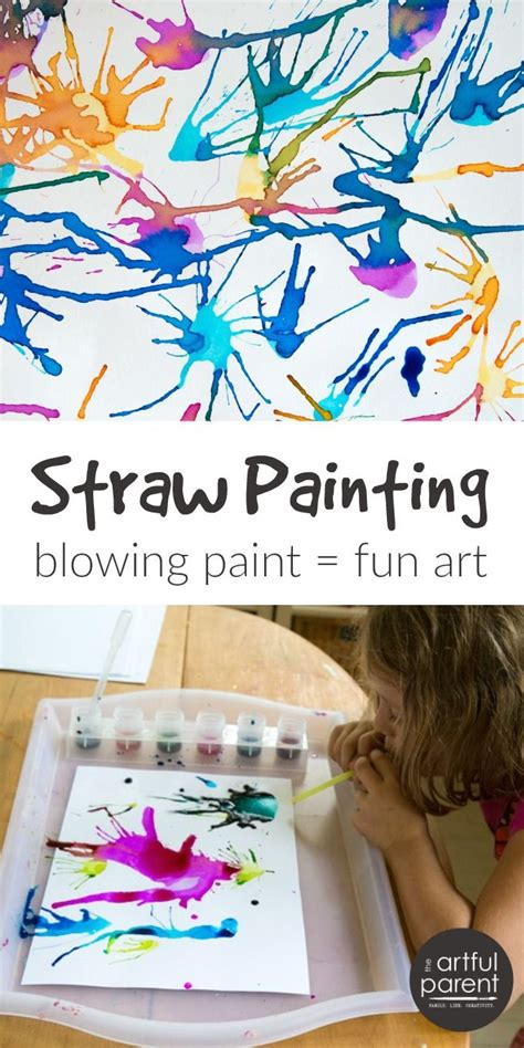 blow painting  straws super fun super simple art