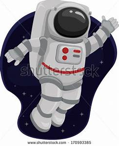 Illustration of an Astronaut Waving from Space - stock vector