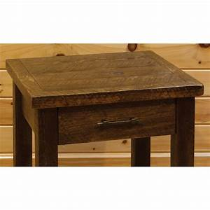 barn wood style 1 drawer nightstand end table With barn style end tables