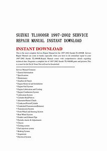 Suzuki Tl1000sr 1997 2002 Service Repair Manual Instant