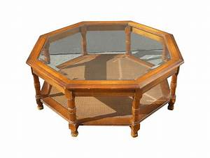 Mid Century Octagon Beveled Glass Top Coffee Table Chairish