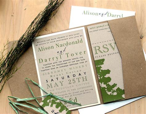 Rustic Pocket Fold Wedding Invitations Outdoor Winery