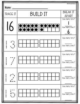 Teen Numbers With Ten Frames Worksheets  Freebie! By 123 Tpt