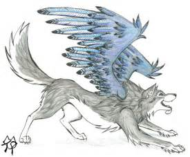 Blue Wolf with Wings Drawings
