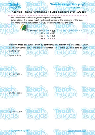 addition by partitioning numbers 100 5 teach my