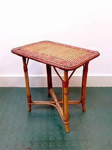 Table Basse Rotin : petite table basse rotin vintage rouge brocnshop ~ Teatrodelosmanantiales.com Idées de Décoration