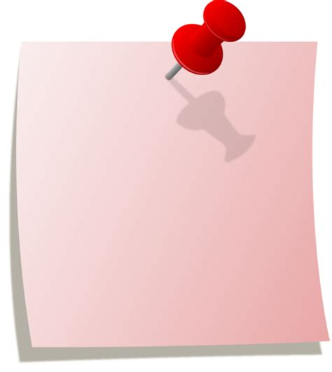 pink note  red thumbtack  clip art
