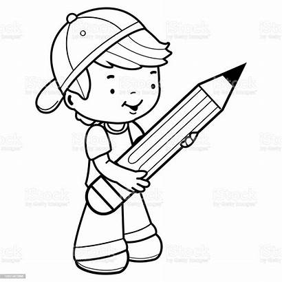 Boy Pencil Student Coloring Holding Vector Illustration