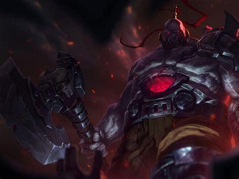league  legends warriors sion armor battle axes hd