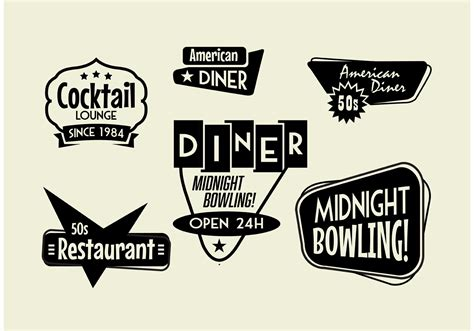 cuisine 馥s 50 50s diner bowling and cocktail sign pack free vector stock graphics images