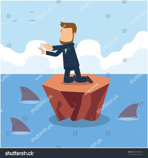 Sinking Boat Surrounded By Sharks by Businessman Need Help Surrounded By Sharks Stock Vector