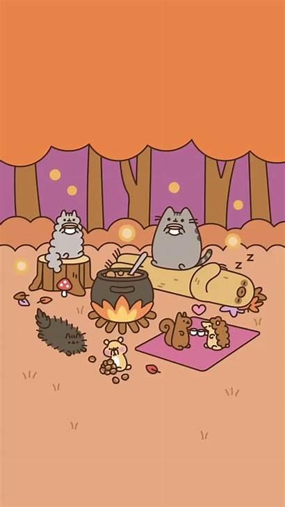 Pusheen Kawaii Cat Camping Wallpapers Gato Fall