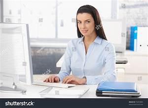 Portrait Happy Office Worker Sitting Desk Stock Photo ...