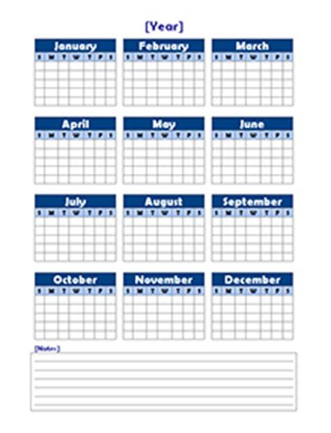 yearly blank calendar potrait  printable templates