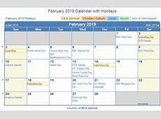 Print Friendly February 2019 US Calendar for printing