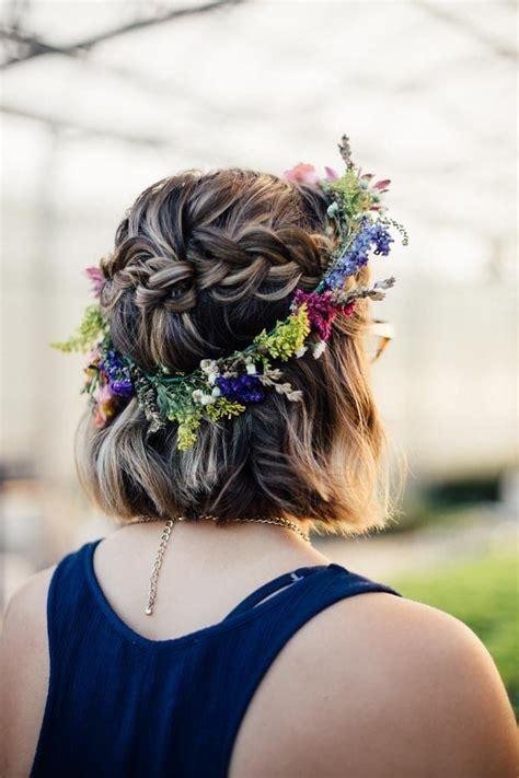 Boho flower crown fall wedding Short hair with bohemian