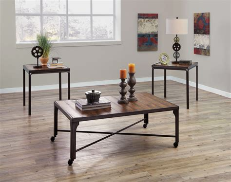 1 coffee table and 2 end tables. Signature Design by Ashley Urbanology 3 Peice Coffee Table ...