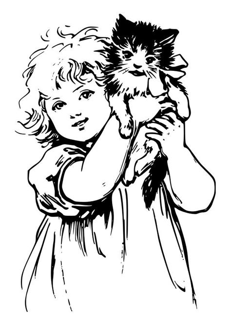 coloring page girl  cat  printable coloring pages