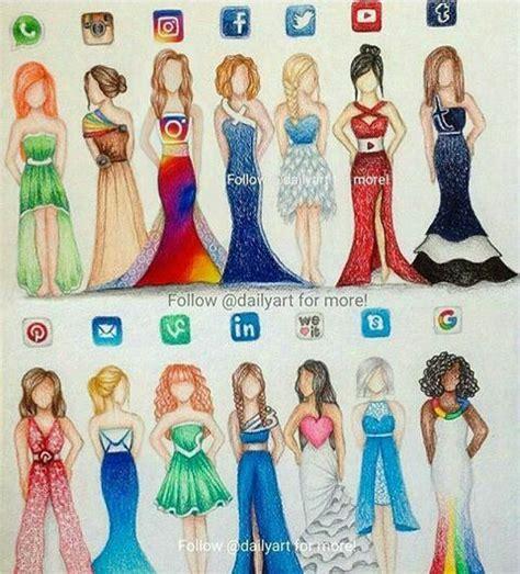 social media dresses girl drawings en  art